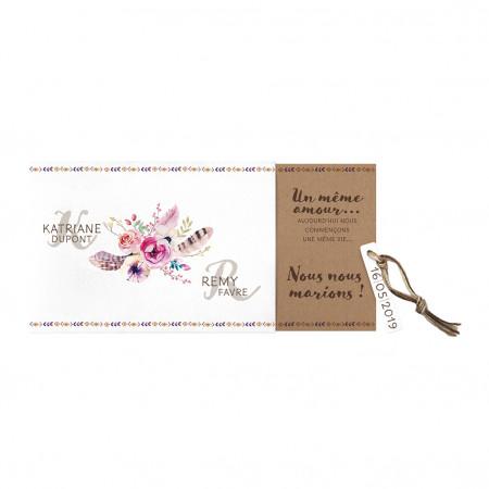 Faire-part pochette fleurs