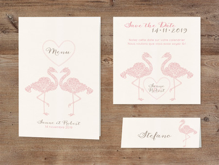 Marque-place velours flamand rose