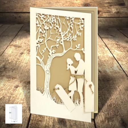Faire-part dentelle arbre couple blanc