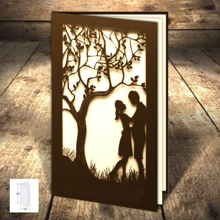 Faire-part dentelle arbre couple ébène