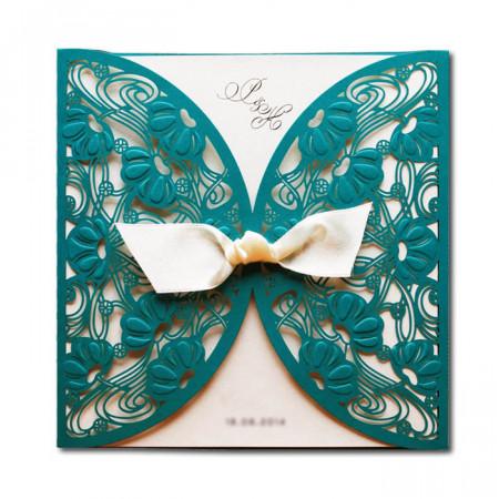 Faire-part dentelle fleurs turquoise