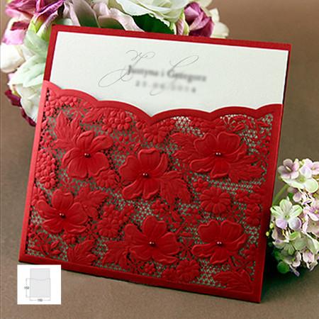 Faire-part dentelle fleurs rouge