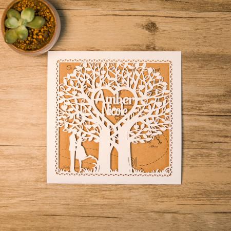 Faire-part dentelle initiales arbres