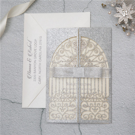 Faire part lasercut porte glitter