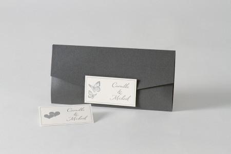 Faire-part pochette grise