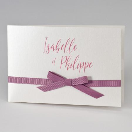 Faire part pochette coupons ruban rose