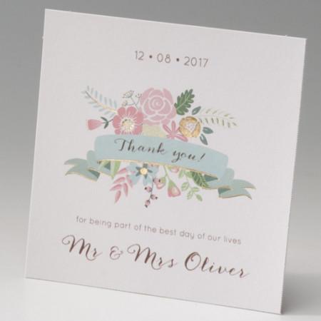 Carte supplémentaire coeurs fleurs
