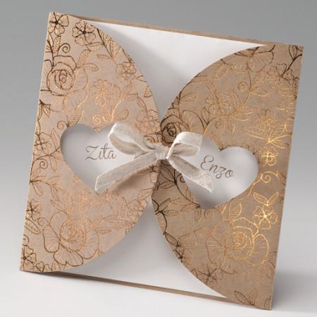 Faire-part fleurs coeurs carton