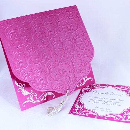 Faire-part oriental rose