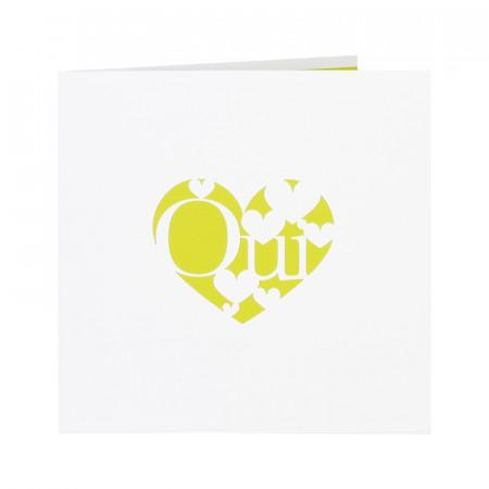 Faire-part coeurs «oui» vert