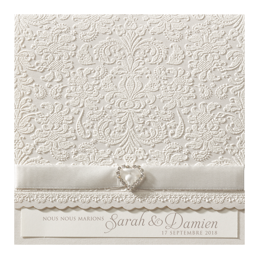 Faire-part baroque-velours relief
