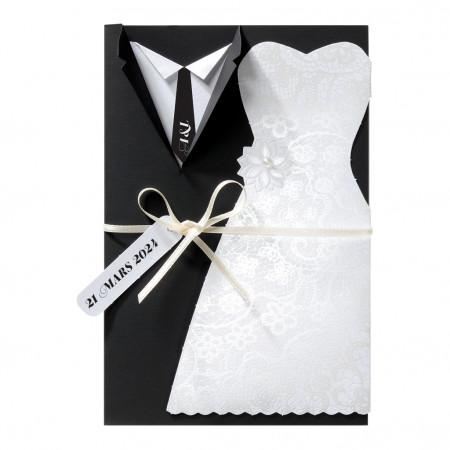 Faire-part en tenue de mariés