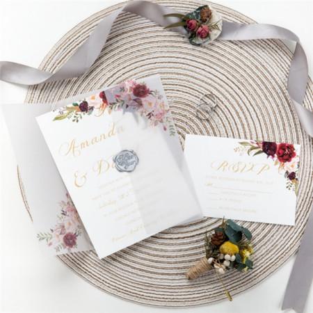 Faire part calque pochette fleurs aquarelle