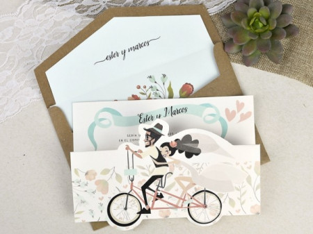 Faire-part mariés à vélo