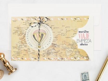Faire-part planisphère voyage