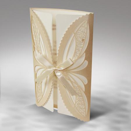 Faire-part dentelle papillon ivoire