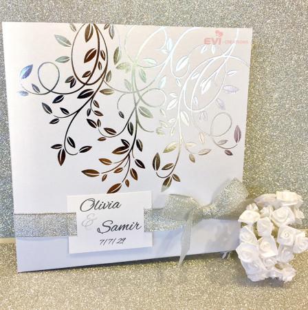 Faire part blanc feuilles argent