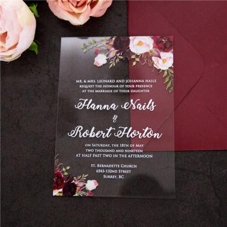 Faire-part plexiglas nature fleurs