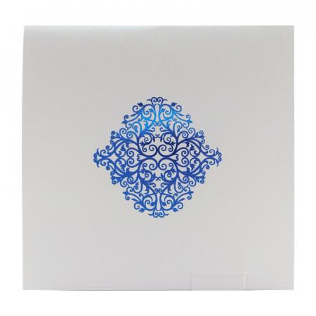 Faire-part carré arabesques bleu