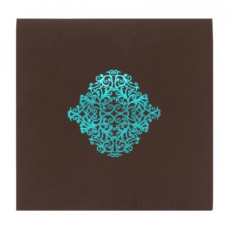Faire-part carré arabesques chocolat