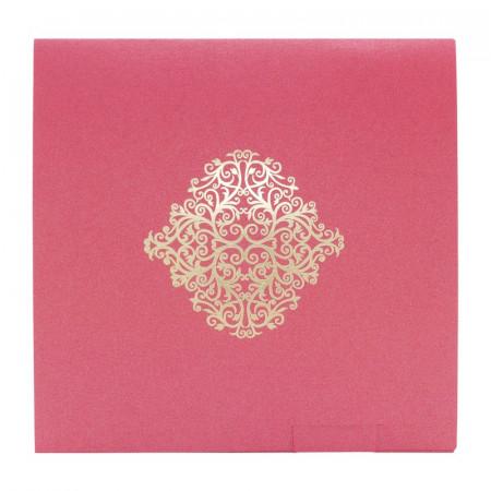 Faire-part carré arabesques rose