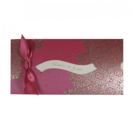 Faire-part bandeau arabesques fushia