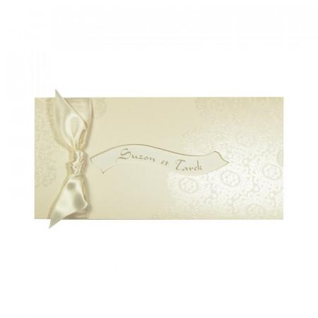Faire-part bandeau arabesques ivoire