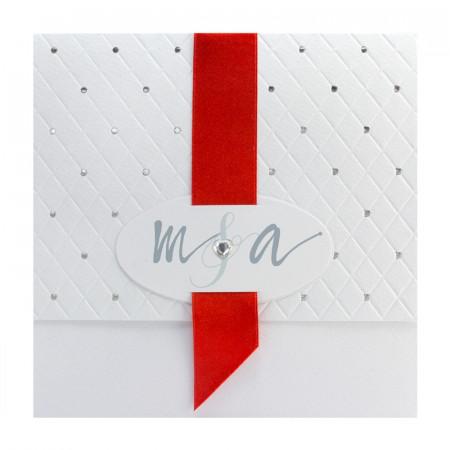 Faire-part pochette matelassée strass rouge