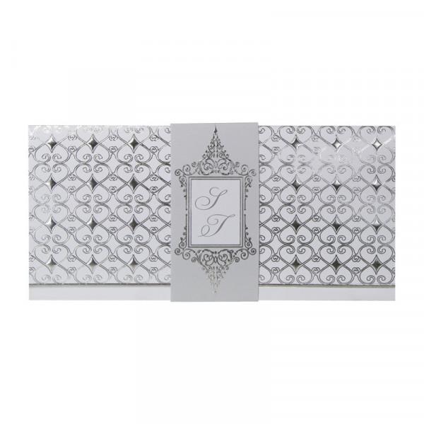 Faire-part bandeau arabesques argent gris