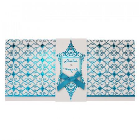 Faire-part bandeau arabesques turquoise