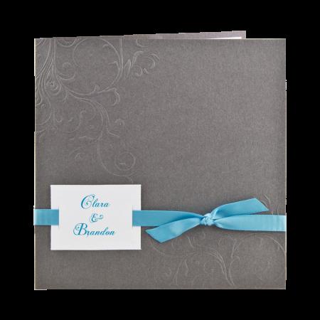Faire-part carré arabesques gris-turquoise