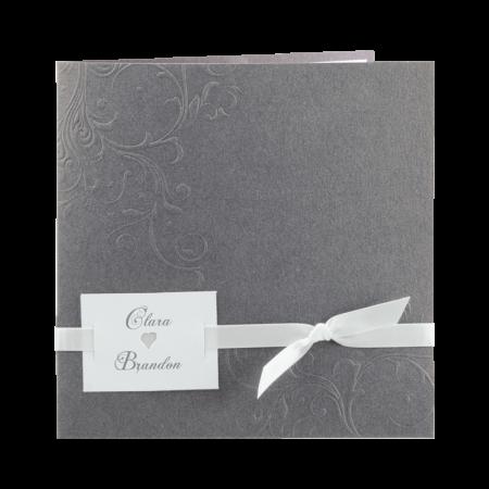 Faire-part arabesques gris couleur au choix