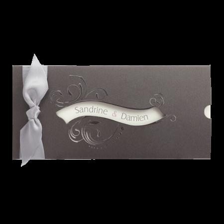 Faire-part pochette arabesques gris