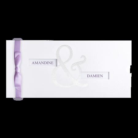 Faire-part pochette blanc-violet