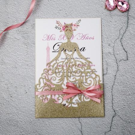 Faire-part dentelle robe de mariée glitter