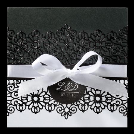 Faire-part baroque dentelle noir et blanc