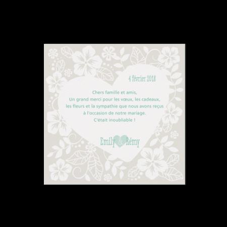Carte supplémentaire coeurs fleurs menthe