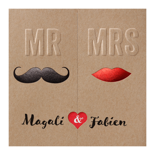 Faire-part humoristique Mr & Mrs moustache carton