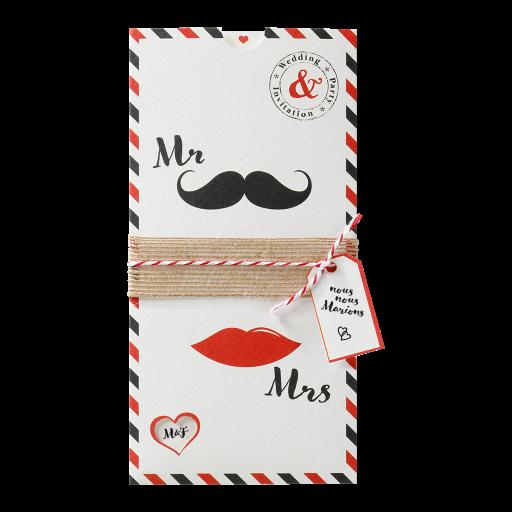 Faire-part humoristique Mr and Mrs moustache lèvres
