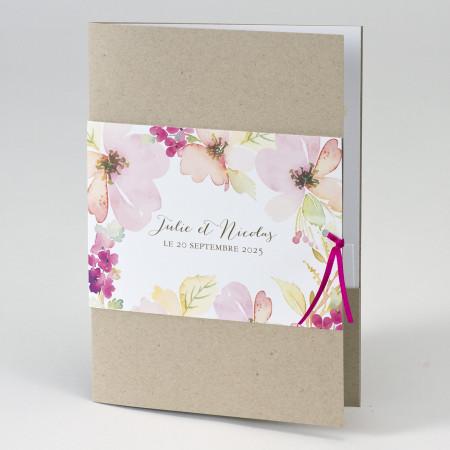 Faire-part pochette fleurs aquarelle