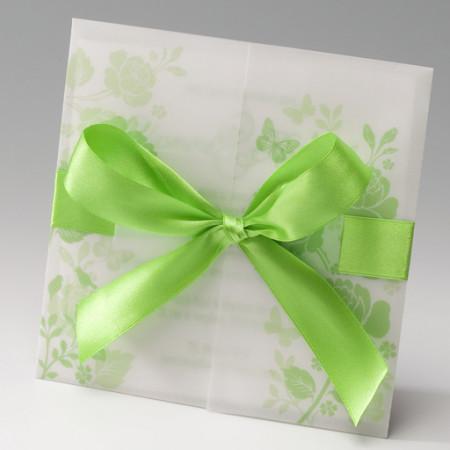 Faire-part calque fleurs vert
